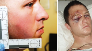 Combination of viral (fake) image and official image of Officer Darren Wilson